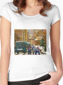 BUS SCENE MONTREAL WINTER SCENE CANADIAN ART RITZ CARLTON DOWNTOWN HOTEL  Women's Fitted Scoop T-Shirt