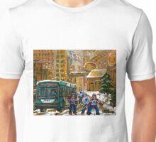 BUS SCENE MONTREAL WINTER SCENE CANADIAN ART RITZ CARLTON DOWNTOWN HOTEL  Unisex T-Shirt