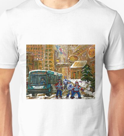 BUS SCENE MONTREAL WINTER SCENE CANADIAN ART RITZ CARLTON DOWNTOWN HOTEL  Unisex T-Shirt