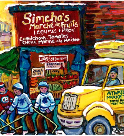 DELIVERY TRUCK NEAR SIMCHA'S FRUIT STORE CANADIAN ART MONTREAL STREET SCENE Sticker