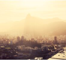 Rio de Janeiro Skyline With Christ the Redeemer in Yellow Afternoon Light Sticker