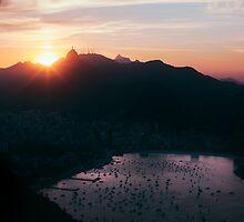 Rio de Janeiro Skyline With Christ the Redeemer at Sunset by visualspectrum