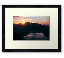 Rio de Janeiro Skyline With Christ the Redeemer at Sunset Framed Print