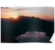 Rio de Janeiro Skyline With Christ the Redeemer at Sunset Poster
