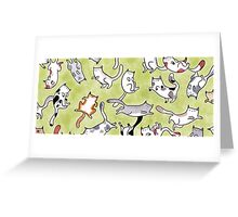 Cats on Green Greeting Card