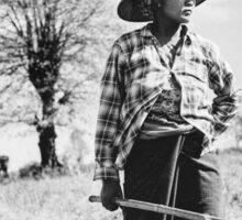 Portrait of Female Burmese Farmer at Work in Field Sticker
