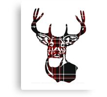Red Plaid Deer Buck Head Canvas Print