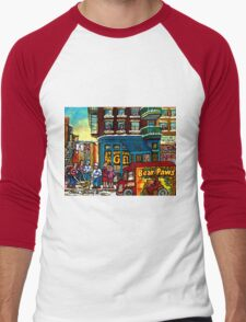 HAPPY WINTER DAY IN THE CITY RUE ST. VIATEUR MONTREAL CANADIAN ART  Men's Baseball ¾ T-Shirt