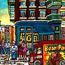HAPPY WINTER DAY IN THE CITY RUE ST. VIATEUR MONTREAL CANADIAN ART  by Carole  Spandau