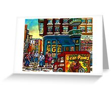 HAPPY WINTER DAY IN THE CITY RUE ST. VIATEUR MONTREAL CANADIAN ART  Greeting Card