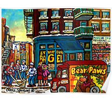 HAPPY WINTER DAY IN THE CITY RUE ST. VIATEUR MONTREAL CANADIAN ART  Poster