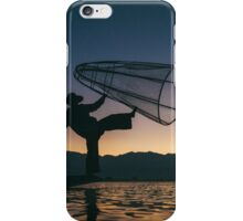 Silhouette of Traditional Fisherman on Lake Inle, Myanmar iPhone Case/Skin