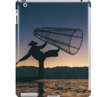 Silhouette of Traditional Fisherman on Lake Inle, Myanmar iPad Case/Skin
