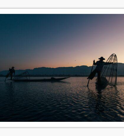 Two Fishermen at Work on Lake Inle in Early Morning, Myanmar Sticker
