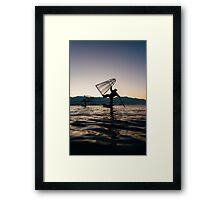 Two Traditional Fishermen on Inle Lake, Burma Framed Print