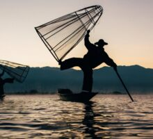 Two Traditional Fishermen on Inle Lake, Burma Sticker