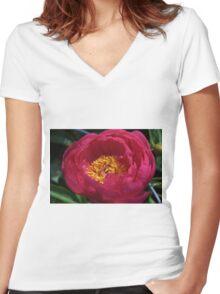 Flower of Joy Women's Fitted V-Neck T-Shirt