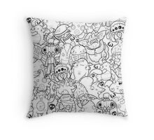 Creepies Collage Throw Pillow