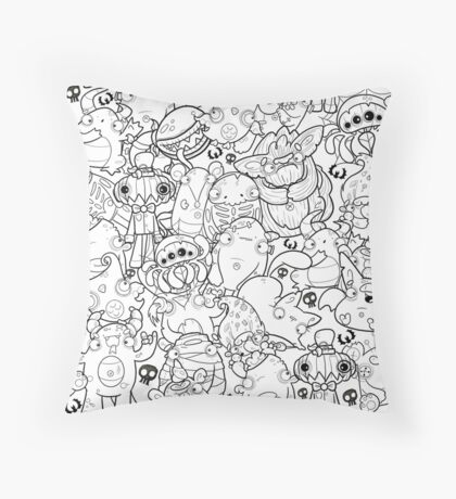 Creepies Collage Throw Pillow