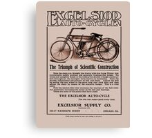 Vintage classic American motorcycle ad, Excelsior Auto Cycle Canvas Print