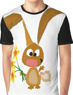 Funny Cool Bunny Rabbit is Holding Yellow Daffodil Flowers Graphic T-Shirt