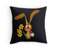 Funny Cool Bunny Rabbit is Holding Yellow Daffodil Flowers Throw Pillow
