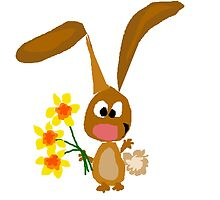 Funny Cool Bunny Rabbit is Holding Yellow Daffodil Flowers by naturesfancy