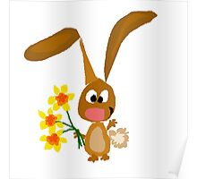 Funny Cool Bunny Rabbit is Holding Yellow Daffodil Flowers Poster