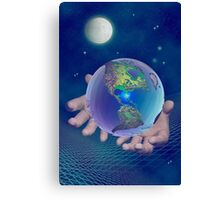 Hands holding the world Canvas Print