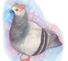 Flower Crown Space Pigeon by ProfessorBees