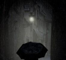 Night walk in the rain Sticker