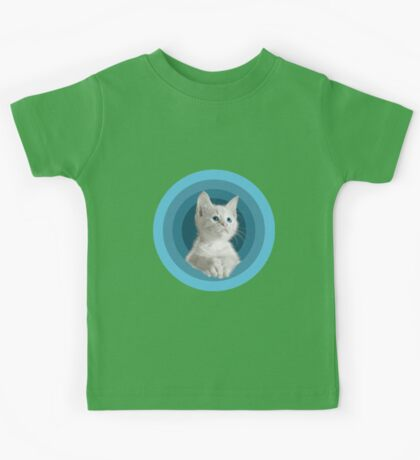 White Cute Blue Eyed Kitten In Turquoise Circles Kids Tee