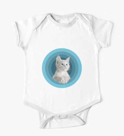 White Cute Blue Eyed Kitten In Turquoise Circles One Piece - Short Sleeve