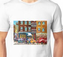 CANADIAN ART MONTREAL WINTER STREET SCENE ST.VIATEUR STREET HOCKEY ART Unisex T-Shirt