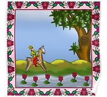 One horse rider in the Garden Poster