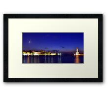 The old harbor and the lighthouse. Framed Print