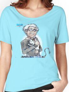 Bernie Sanders hugging a cat. Women's Relaxed Fit T-Shirt