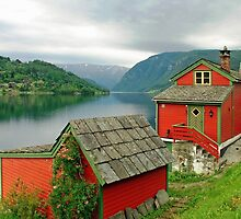 Houses at the fjord by Arie Koene