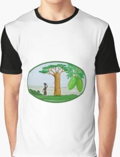 Baobab Tree and Fruit Watercolor Graphic T-Shirt