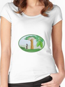 Baobab Tree and Fruit Watercolor Women's Fitted Scoop T-Shirt