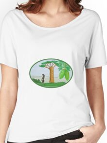 Baobab Tree and Fruit Watercolor Women's Relaxed Fit T-Shirt