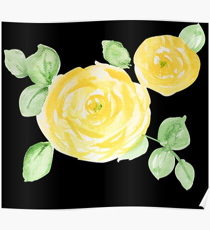 Yellow Watercolor Rose on Black Poster