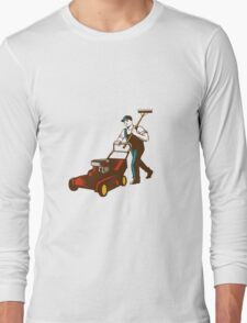 Gardener Lawn Mower Rake Woodcut Long Sleeve T-Shirt