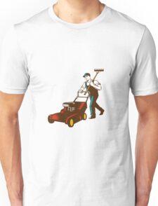 Gardener Lawn Mower Rake Woodcut Unisex T-Shirt