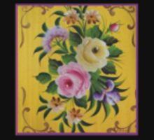 Yellow Pink Victorian Rose Folk Art Garden Floral Design Material Fabric Cotton Duvet by Kirsten Kids Tee