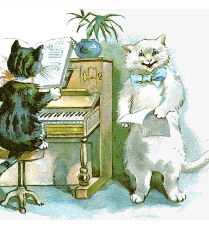 Cats Playing - Animal Art - Whimsical Sticker