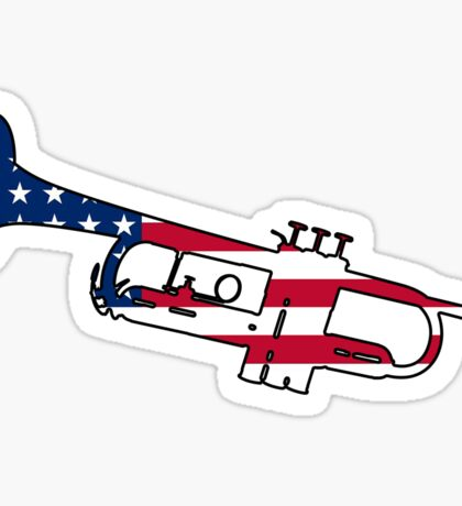 American flag trumpet Sticker