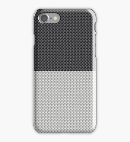 Black and White Two Tone Half and Half Black Top Carbon Fiber Pattern  iPhone Case/Skin