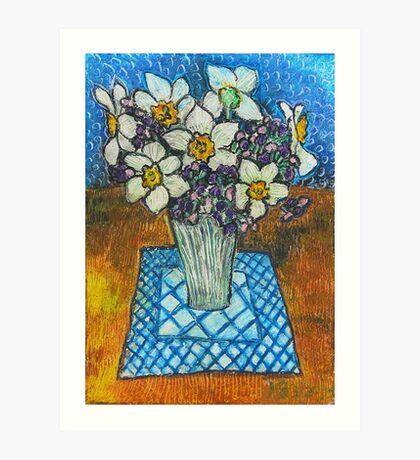 Daffodils oil pastel Art Print