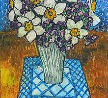 Daffodils oil pastel by Mary Batthany